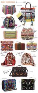 Sok színes, hímzett, szőtt táska