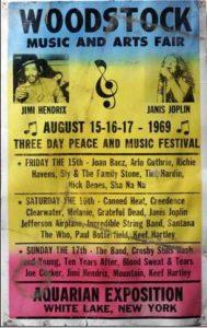 A woodstocki zenei fesztivál plakátja