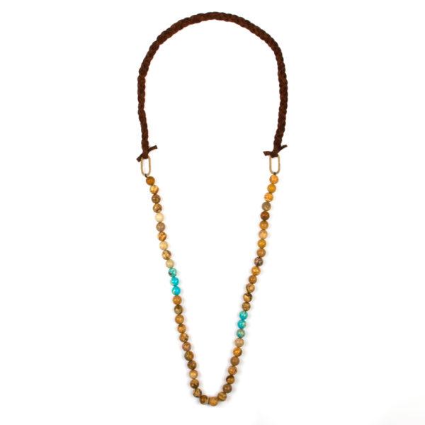 barna-kék gyöngyös és fonott bőr nyaklánc