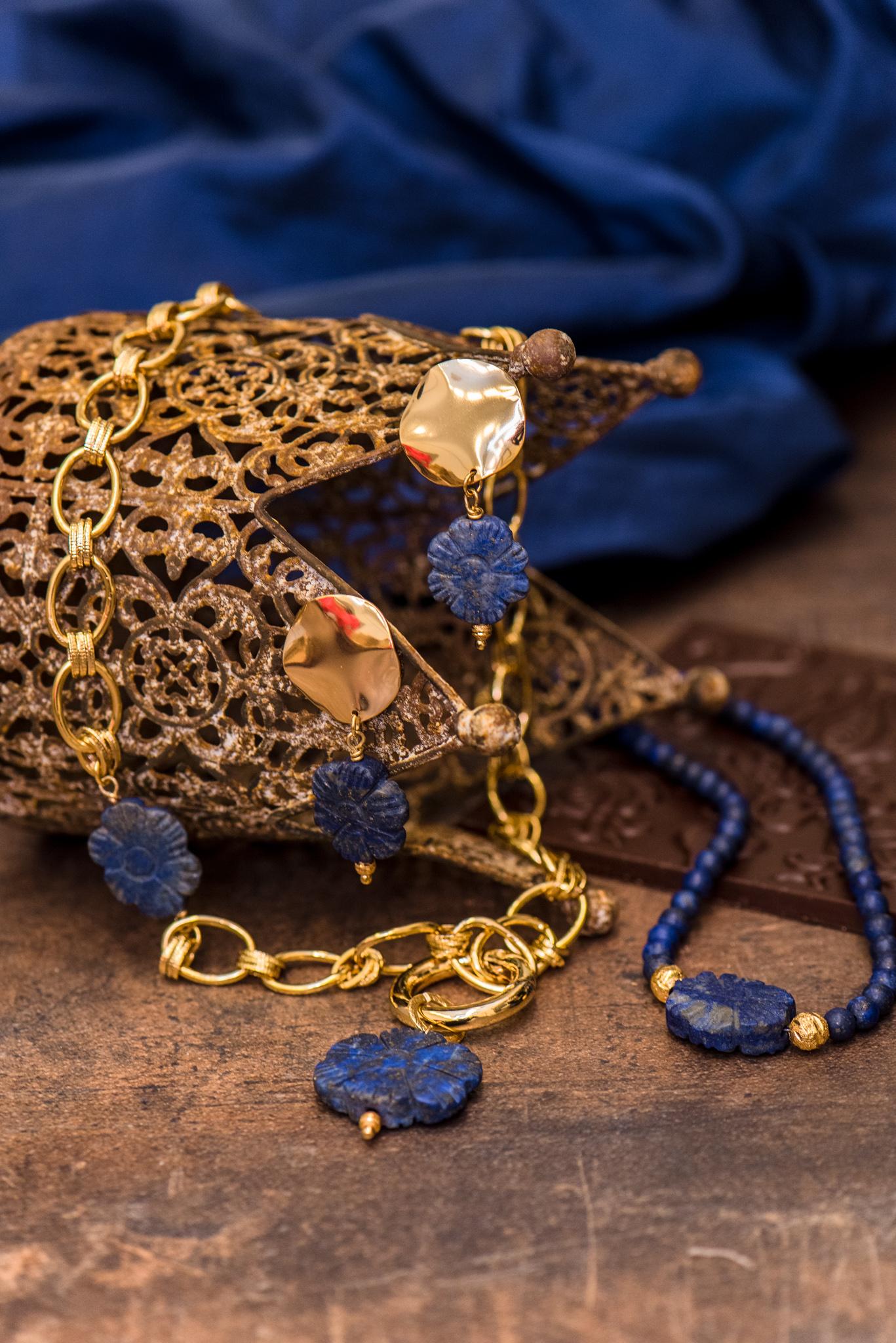 kék virágos szett lápisz lazulikkal