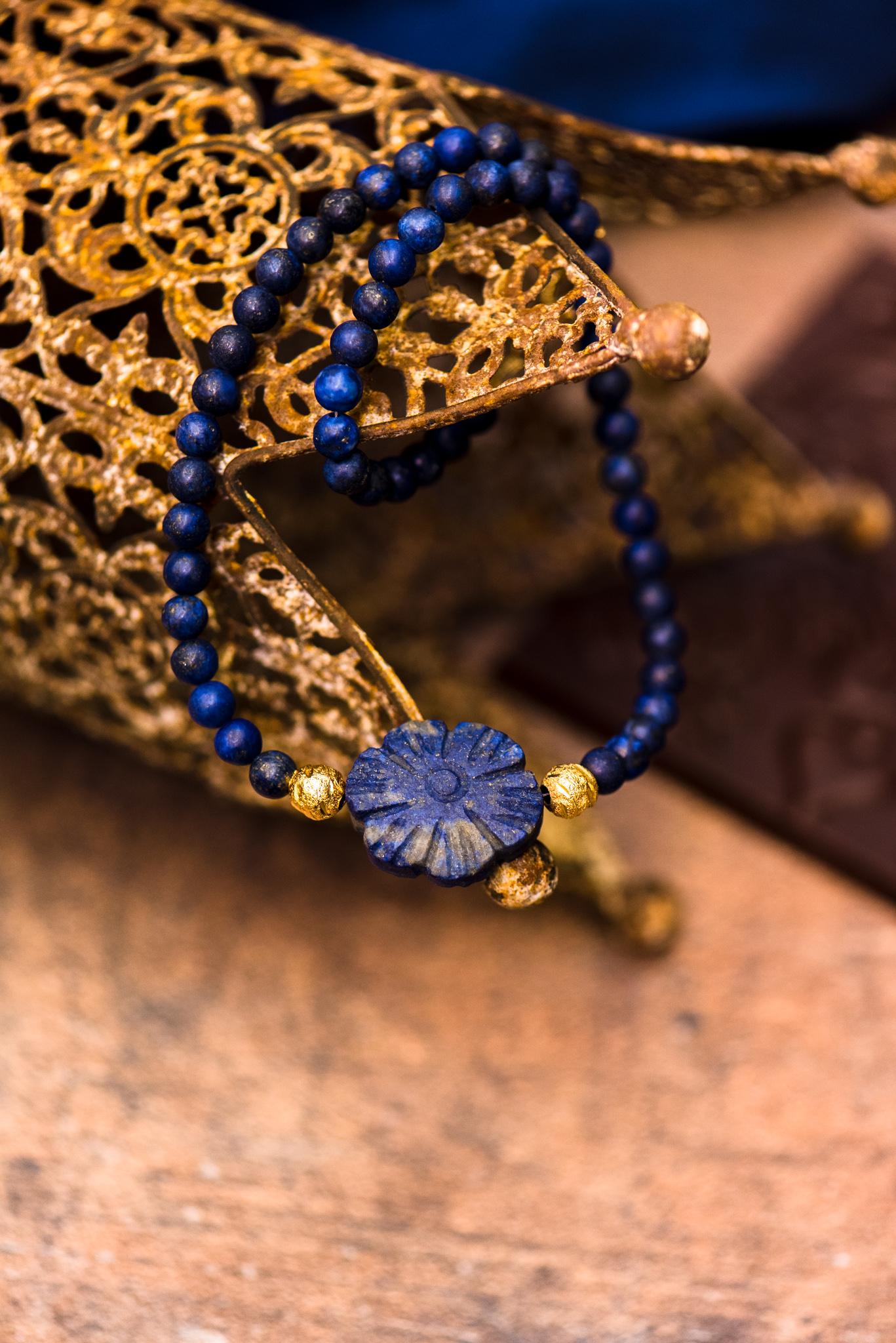 kék virágos szett lápisz lazulikkal első nyaklánc