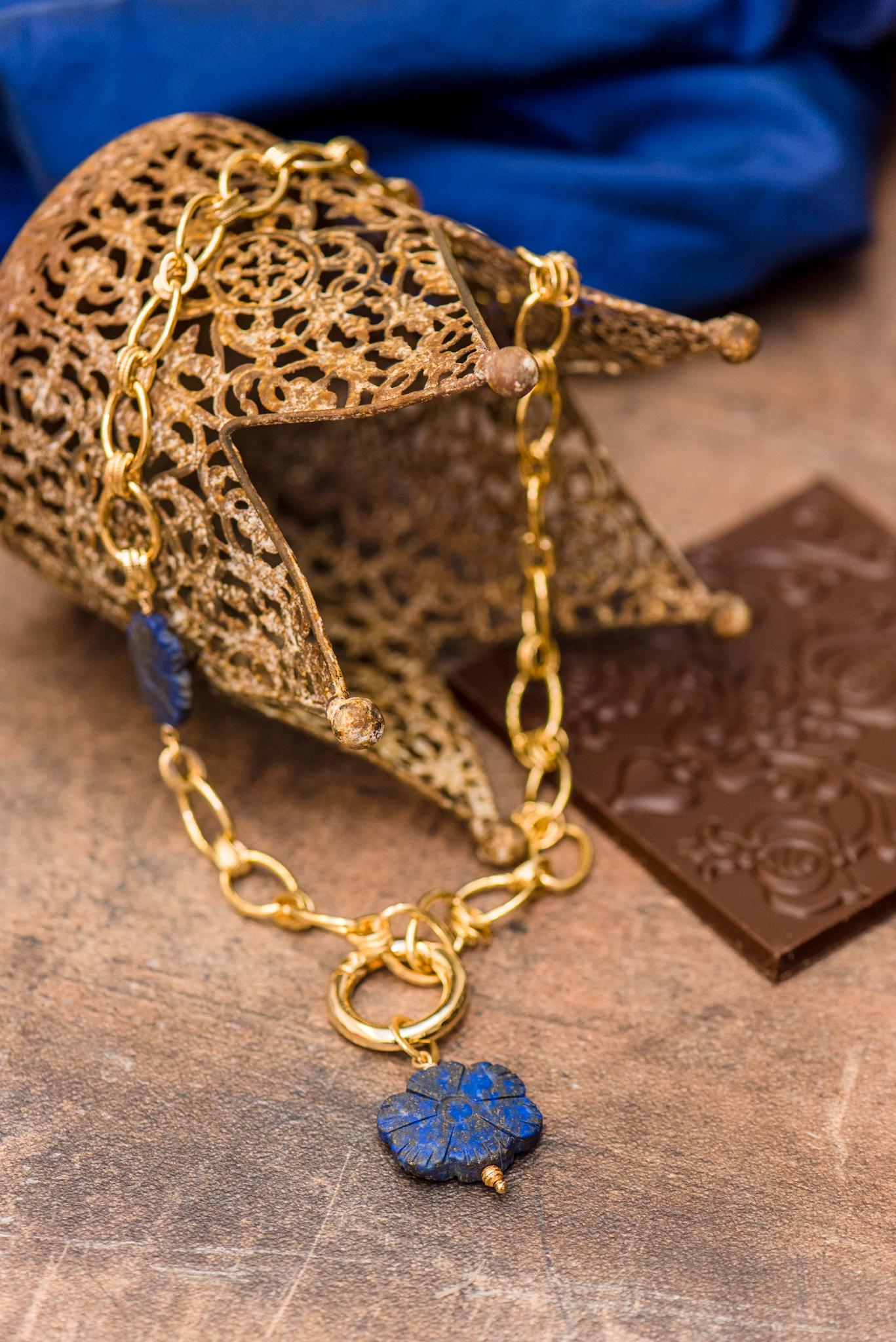 kék virágos szett lápisz lazulikkal harmadik nyaklánc