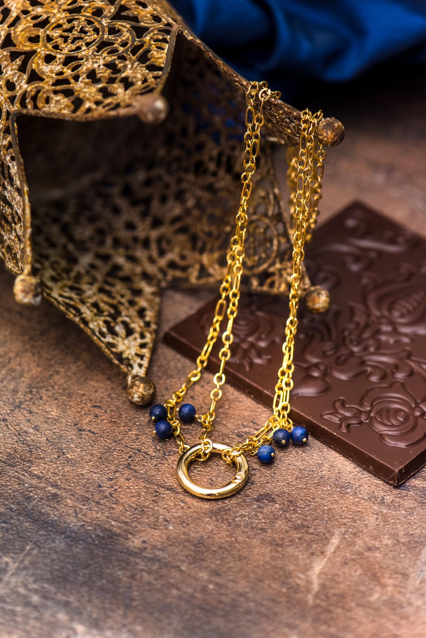 kék virágos szett lápisz lazulikkal második nyaklánc